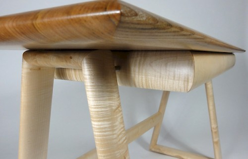 Asymmetric Console Table in Elm and Burr Sycamore